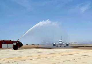 مطار برنيس الدولى يستقبل أول طائرة لشركة مصر للطيران